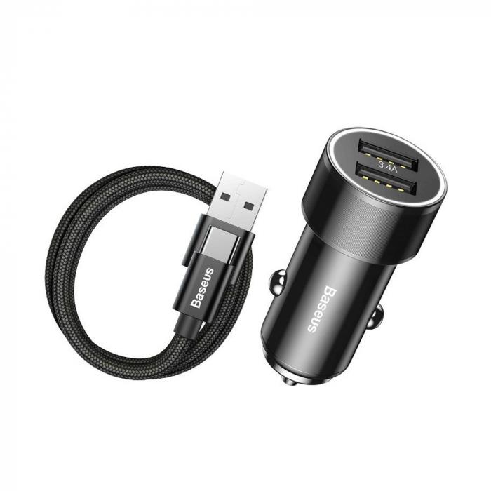 Incarcator auto rapid Baseus + cablu USB-C, 2 USB, 3.4 A, Negru [0]