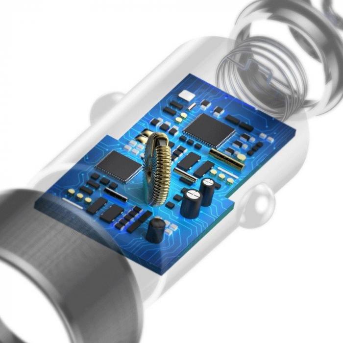 Incarcator auto rapid Baseus + cablu USB-C, 2 USB, 3.4 A, Negru [3]