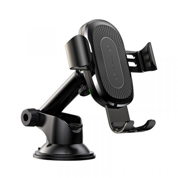 Suport & incarcator auto wireless Baseus, QI, rotire 360 grade, max 10 wati, prindere cu ventuza 0