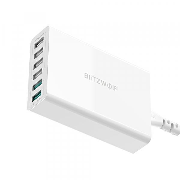 Incarcator rapid Blitzwolf BW-S15, 6 x USB, Dual Qualcomm Quick Charge 3.0, 60W, cablu 150cm, adaptor EU 0