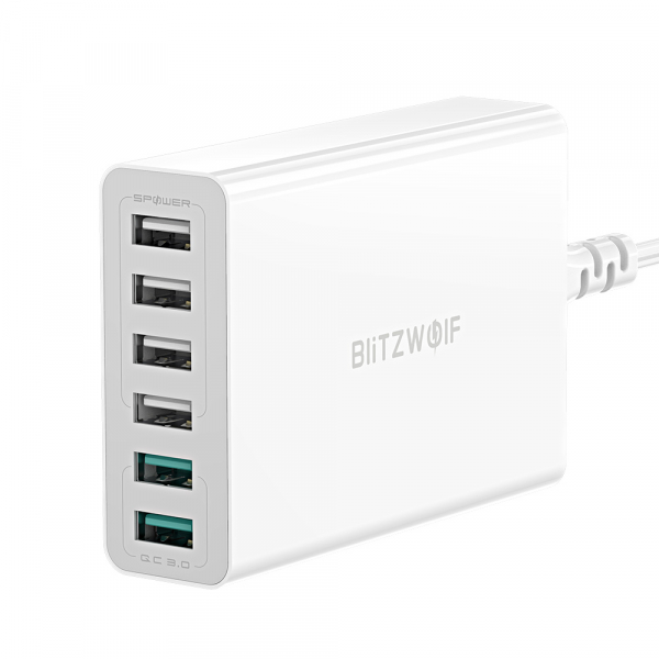 Incarcator rapid Blitzwolf BW-S15, 6 x USB, Dual Qualcomm Quick Charge 3.0, 60W, cablu 150cm, adaptor EU 1