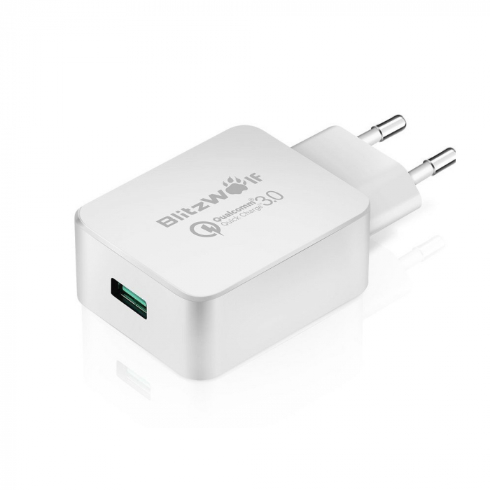 Incarcator de retea USB Blitzwolf BW-S5, Quick Charge 3.0, 18W, Alb [1]