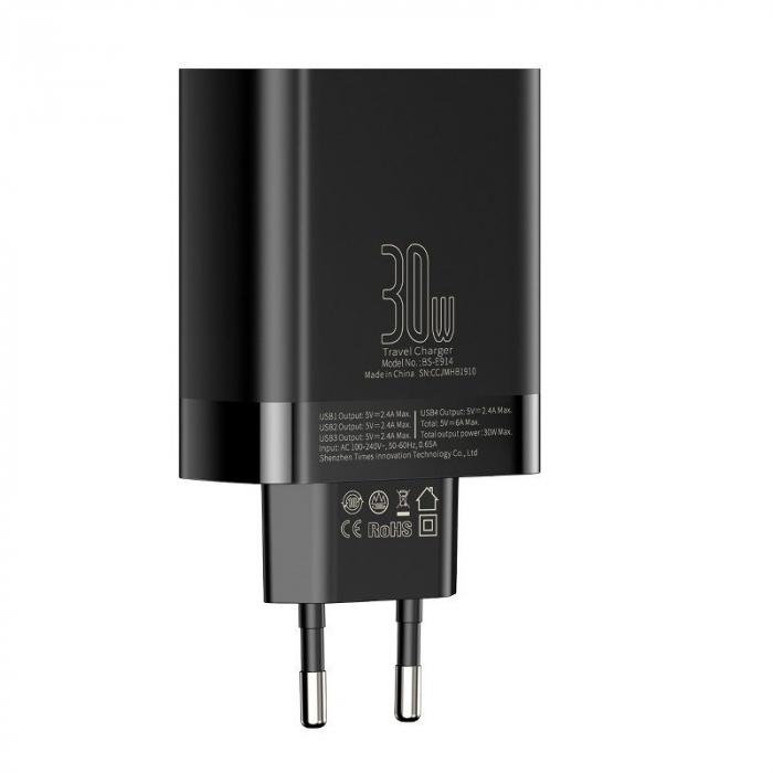 Incarcator retea Baseus 4 X USB, display LED, 30W, Quick Charge, Negru [4]