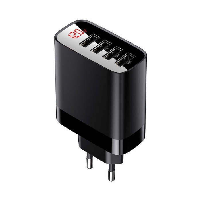 Incarcator retea Baseus 4 X USB, display LED, 30W, Quick Charge, Negru 0