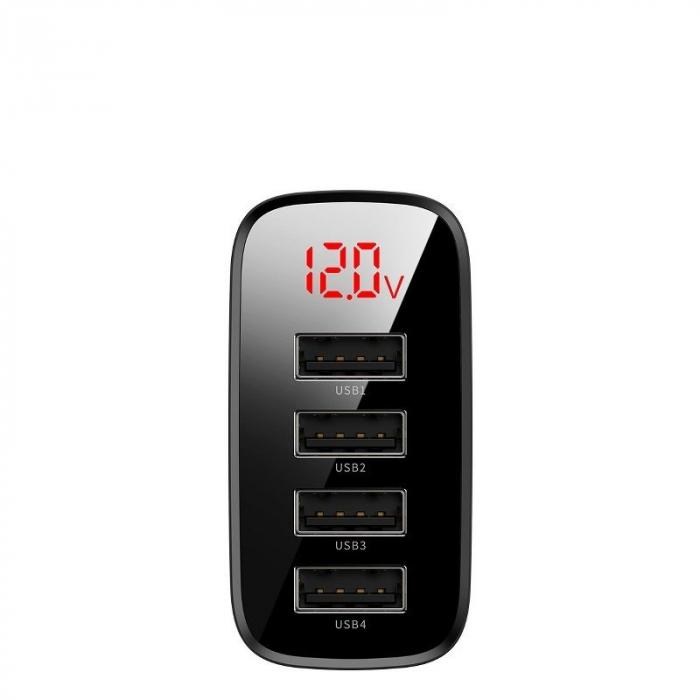 Incarcator retea Baseus 4 X USB, display LED, 30W, Quick Charge, Negru 2