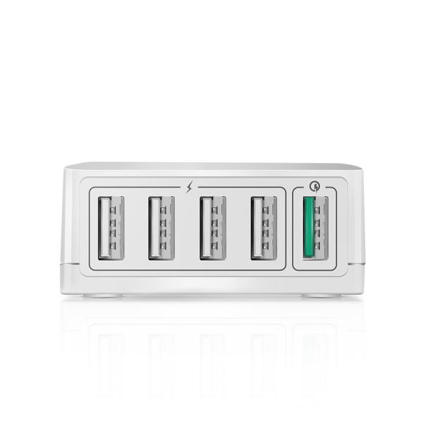 Incarcator Blitzwolf S7, 5 porturi, 40 Wati, 1 x QC3.0, 4 x Power 3S 2.4A, chip fast charging NT6008, EU, Alb 3