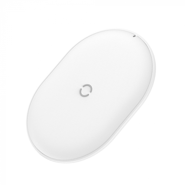 Incarcator wireless Baseus Cobble 15W, fast charge Qi, compatibil Huawei, Xiaomi si Iphone, Alb 2