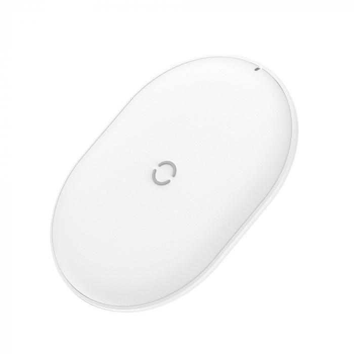 Incarcator wireless Baseus Cobble 15W, fast charge Qi, compatibil Huawei, Xiaomi si Iphone, Alb [2]