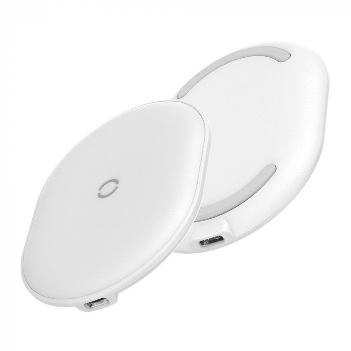Incarcator wireless Baseus Cobble 15W, fast charge Qi, compatibil Huawei, Xiaomi si Iphone, Alb 1