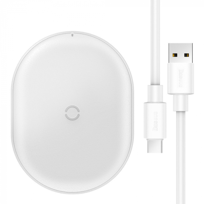 Incarcator wireless Baseus Cobble 15W, fast charge Qi, compatibil Huawei, Xiaomi si Iphone, Alb 0
