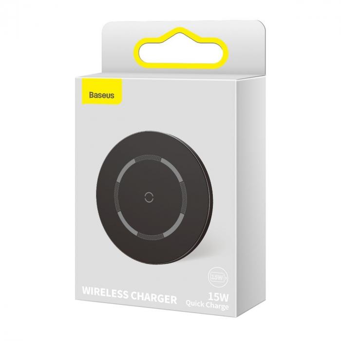 Incarcator wireless Baseus simple cu magnet, 15W, suporta incarcare QC & PD, USB-C, Negru [5]