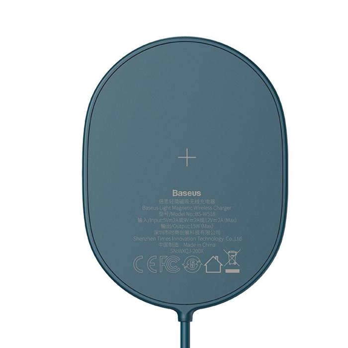 Incarcator wireless Baseus pentru iPhone 12, 15W, suport PD, cablu 1.5m, protectii integrate, albastru 3