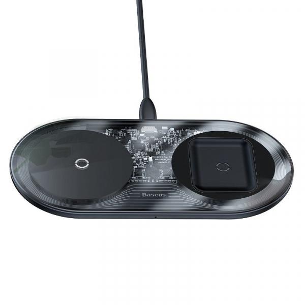 Incarcator dual wireless Baseus Simple 2 in 1, 15 wati, transparent, pentru telefoane si AirPods [2]