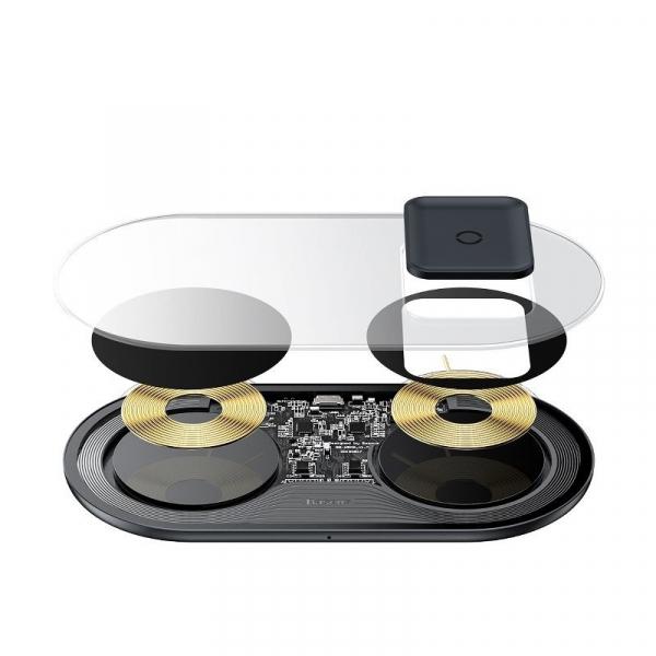 Incarcator dual wireless Baseus Simple 2 in 1, 15 wati, transparent, pentru telefoane si AirPods [5]