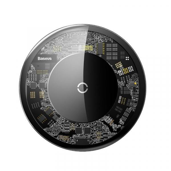 Incarcator wireless Baseus Simple pentru telefoane, incarcare rapida QI, 10 wati, transparent, negru 0