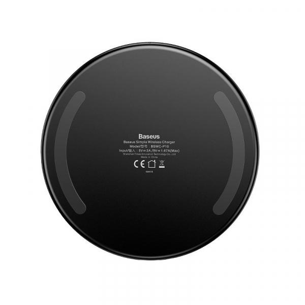 Incarcator wireless Baseus Simple pentru telefoane, incarcare rapida QI, 10 wati, transparent, negru 1