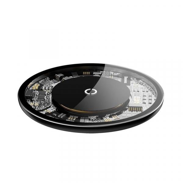 Incarcator wireless Baseus Simple pentru telefoane, incarcare rapida QI, 10 wati, transparent, negru 2