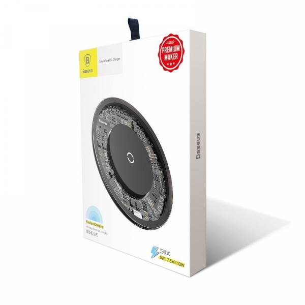 Incarcator wireless Baseus Simple pentru telefoane, incarcare rapida QI, 10 wati, transparent, negru 4