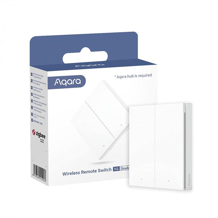Intrerupator aplicat Aqara H1 dublu, ZigBee 3.0, programabil, versiune europeana, compatibil Aqara Home & Apple Homekit [0]