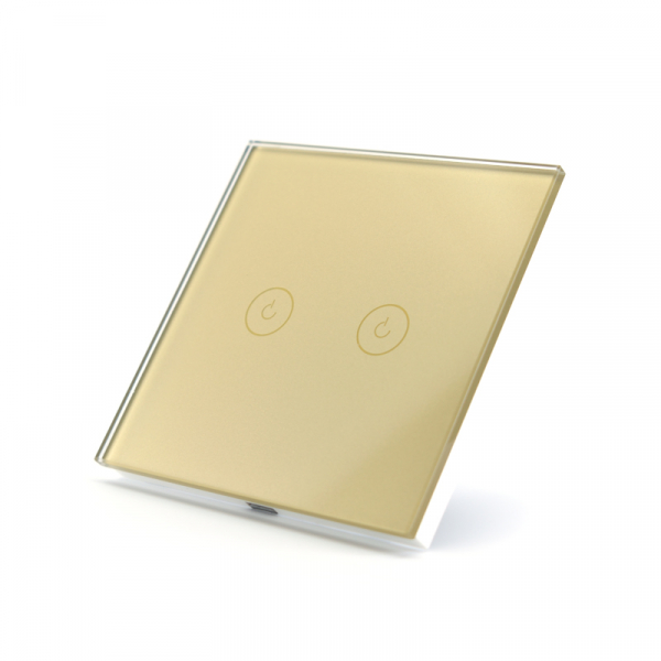 Intrerupator dublu smart Vhub cu touch, panou sticla, Wifi integrat 2.4GHz, compatibil Google & Alexa, gold