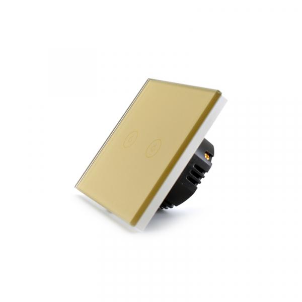 Intrerupator dublu smart Vhub cu touch, panou sticla, Wifi integrat 2.4GHz, compatibil Google & Alexa, gold 5