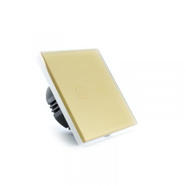 Intrerupator dublu smart Vhub cu touch, panou sticla, Wifi integrat 2.4GHz, compatibil Google & Alexa, gold 3