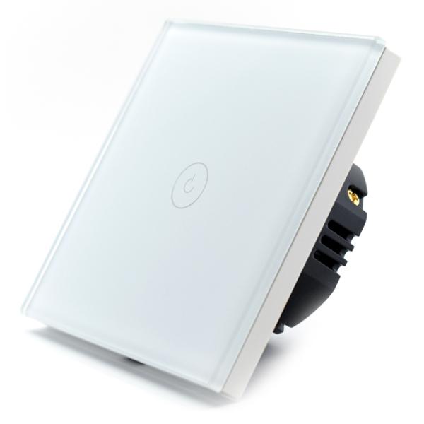 Intrerupator smart Vhub cu touch, panou sticla, Wifi integrat 2.4GHz, compatibil Google & Alexa, alb 0