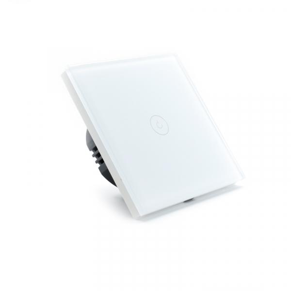 Intrerupator smart Vhub cu touch, panou sticla, Wifi integrat 2.4GHz, compatibil Google & Alexa, alb 2