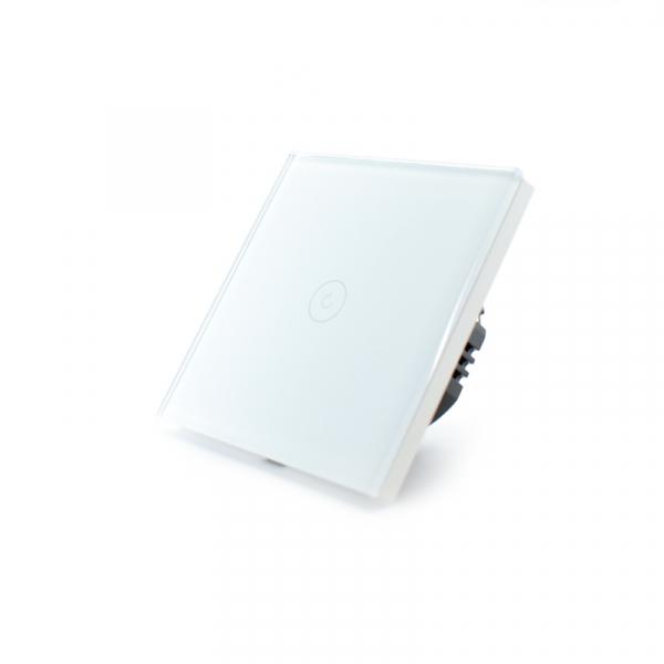 Intrerupator smart Vhub cu touch, panou sticla, Wifi integrat 2.4GHz, compatibil Google & Alexa, alb 1