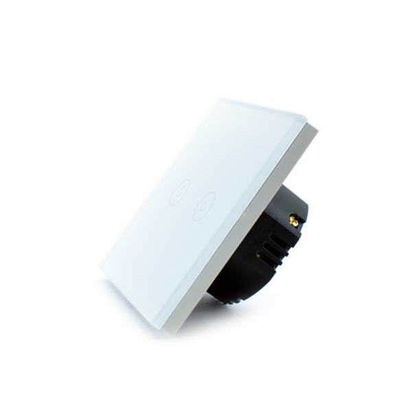 Intrerupator dublu smart Vhub cu touch, panou sticla, Wifi integrat 2.4GHz, compatibil Google & Alexa, alb 4