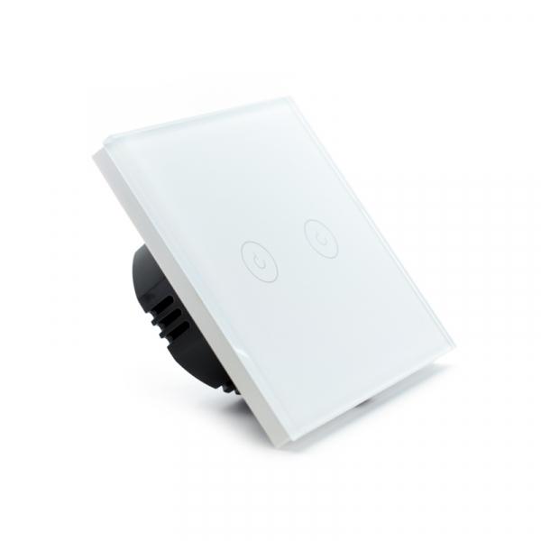 Intrerupator dublu smart Vhub cu touch, panou sticla, Wifi integrat 2.4GHz, compatibil Google & Alexa, alb 1