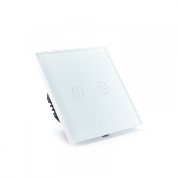 Intrerupator dublu smart Vhub cu touch, panou sticla, Wifi integrat 2.4GHz, compatibil Google & Alexa, alb 2