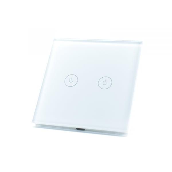 Intrerupator dublu smart Vhub cu touch, panou sticla, Wifi integrat 2.4GHz, compatibil Google & Alexa, alb 3