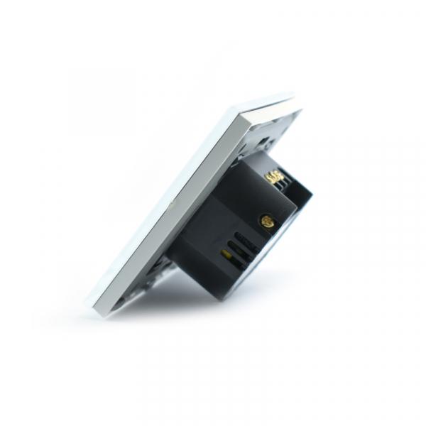Intrerupator dublu smart Vhub cu touch, panou sticla, Wifi integrat 2.4GHz, compatibil Google & Alexa, alb