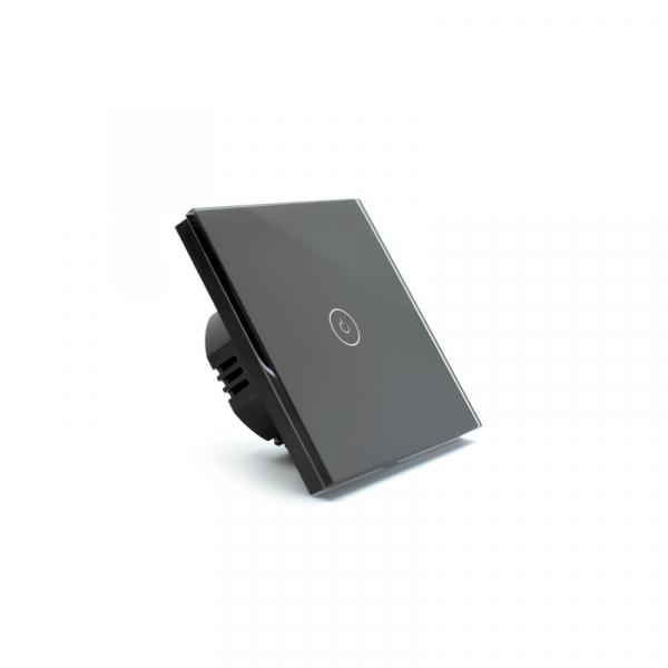 Intrerupator smart Vhub cu touch, panou sticla, Wifi integrat 2.4GHz, compatibil Google & Alexa, negru 4
