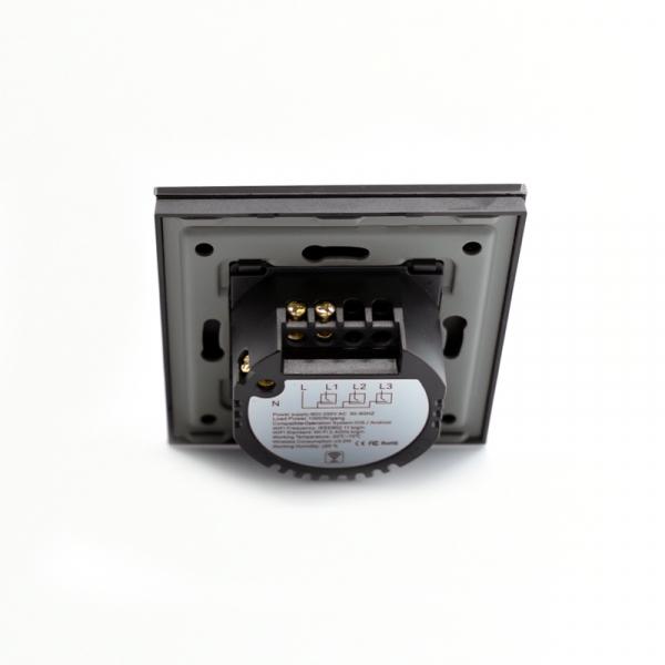 Intrerupator smart Vhub cu touch, panou sticla, Wifi integrat 2.4GHz, compatibil Google & Alexa, negru 6