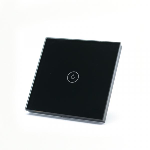 Intrerupator smart Vhub cu touch, panou sticla, Wifi integrat 2.4GHz, compatibil Google & Alexa, negru 1