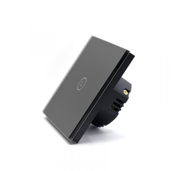 Intrerupator smart Vhub cu touch, panou sticla, Wifi integrat 2.4GHz, compatibil Google & Alexa, negru 2