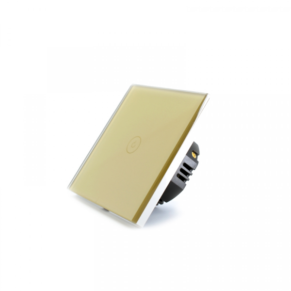 Intrerupator smart Vhub cu touch, panou sticla, Wifi integrat 2.4GHz, compatibil Google & Alexa, gold 1