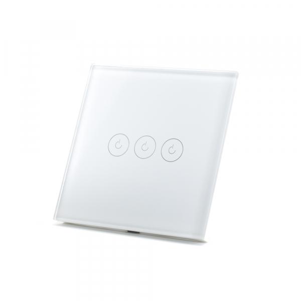 Intrerupator triplu smart Vhub cu touch, panou sticla, Wifi integrat 2.4GHz, compatibil Google & Alexa, alb 1