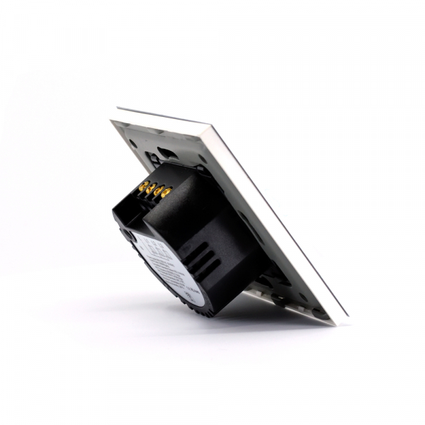 Intrerupator triplu smart Vhub cu touch, panou sticla, Wifi integrat 2.4GHz, compatibil Google & Alexa, alb 3
