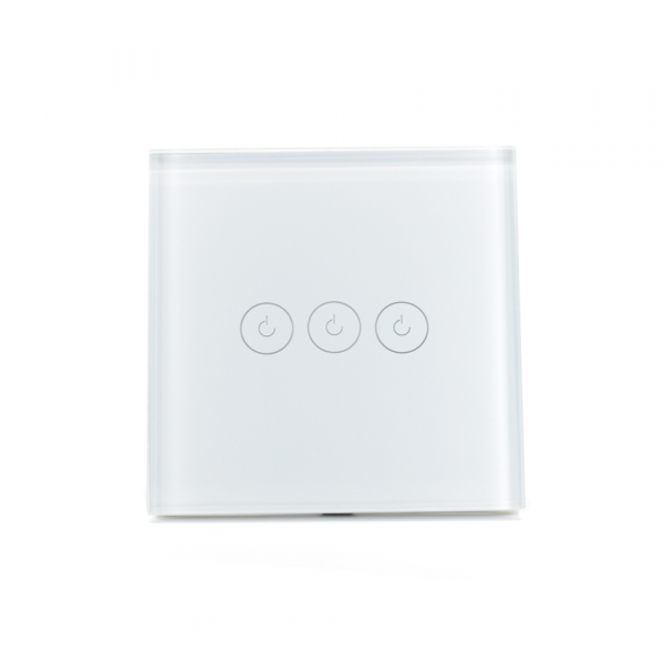 Intrerupator triplu smart Vhub cu touch, panou sticla, Wifi integrat 2.4GHz, compatibil Google & Alexa, alb 2