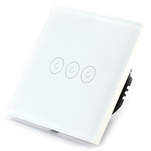 Intrerupator triplu smart Vhub cu touch, panou sticla, Wifi integrat 2.4GHz, compatibil Google & Alexa, alb 0