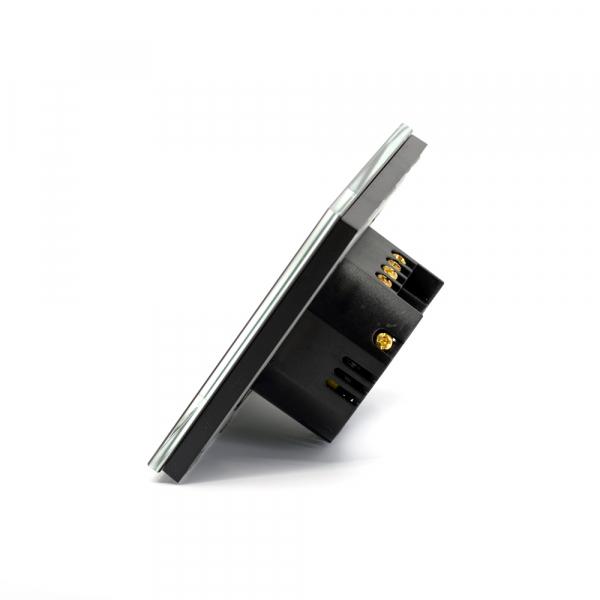 Intrerupator triplu smart Vhub cu touch, panou sticla, Wifi integrat 2.4GHz, compatibil Google & Alexa, negru 2