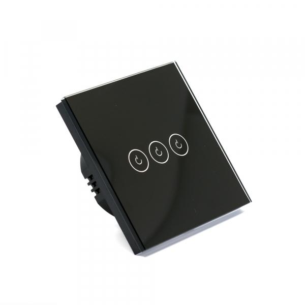 Intrerupator triplu smart Vhub cu touch, panou sticla, Wifi integrat 2.4GHz, compatibil Google & Alexa, negru 4