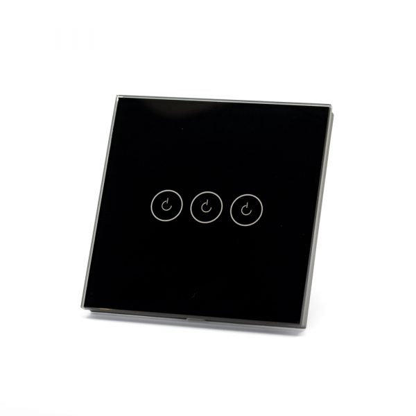 Intrerupator triplu smart Vhub cu touch, panou sticla, Wifi integrat 2.4GHz, compatibil Google & Alexa, negru 1