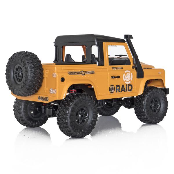 Jeep Off-Road cu telecomanda Funtek Raid2, 4X4, scala 1:12, lumini LED, 700mAh, amortizoare, roti cauciuc 4