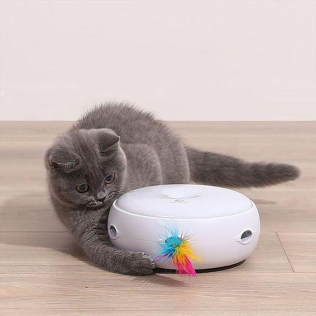 Jucarie smart pentru pisici Homerunpet CT10, 3 moduri de setare, pene curcan naturale, indicator LED [3]