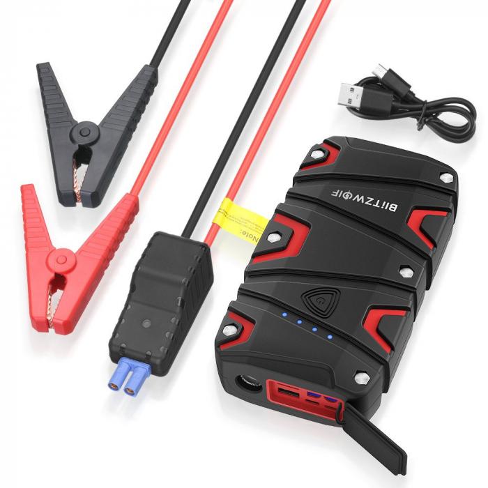 Jump Starter auto BlitzWolf BW-JS1 & power bank 12000 mAh, max 800A, IP67, cabluri si clesti incluse 3