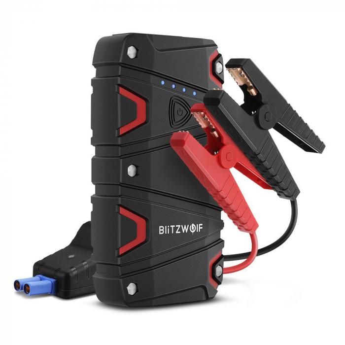 Jump Starter auto BlitzWolf BW-JS1 & power bank 12000 mAh, max 800A, IP67, cabluri si clesti incluse 0